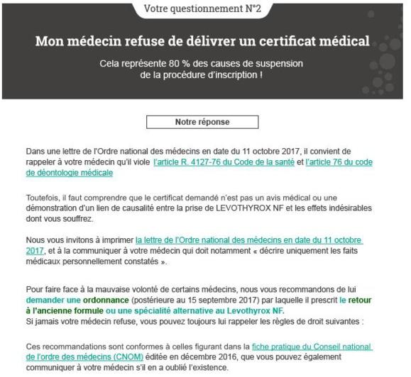 #LEVOTHYROX - Votre médecin peut il refuser d'émettre un certificat médical ? NON !