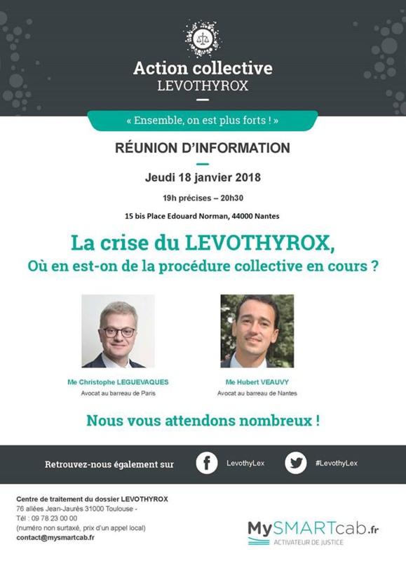 #LEVOTHYROX - Réunion d'informations à #NANTES- jeudi 18 janvier 2018 - 15bis Place Edouard Norman