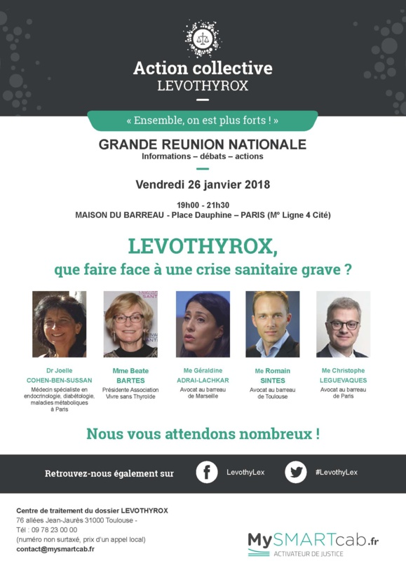 #LEVOTHYROX - Que faire face à une crise sanitaire grave ? Réunion-débat Vendredi 26 janvier 2018 #Paris