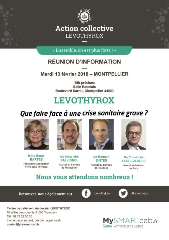 #LEVOTHYROX - Réunion d'informations à #MONTPELLIER- mardi 13 février 2018 - Salle Rabelais - Bd Sarailh