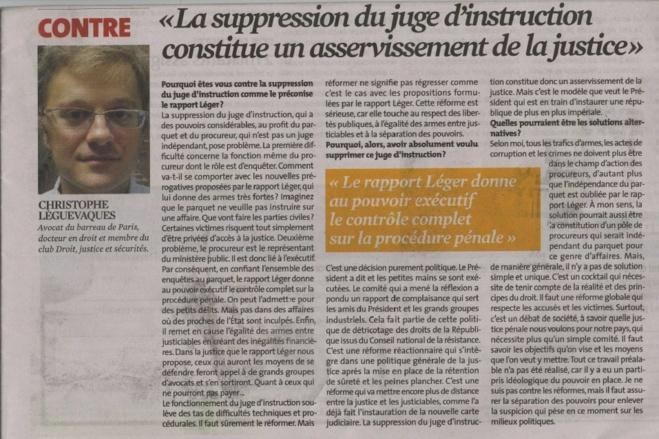A propos du rapport de la Commission LEGER et de son projet de réforme de la procédure pénale