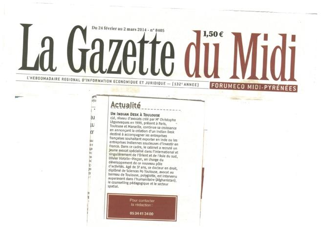 Présentation de l'INDIAN DESK dans la Gazette du Midi