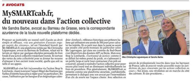 Article paru dans la Tribune de la Cote d'Azur (23 juillet 2016)