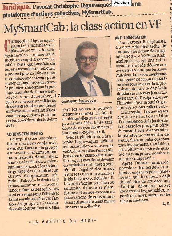 """La Gazette du Midi s'intéresse à mySMARTcab et la """"class-action"""" en VF"""