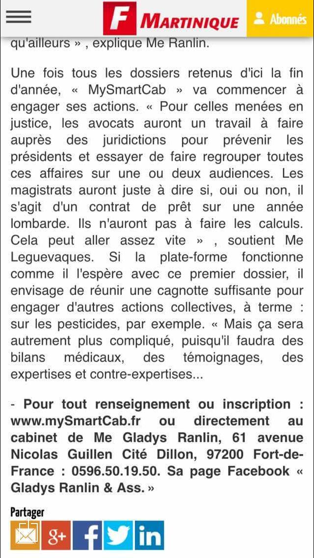 France-Antilles Martinique consacre sa UNE à la plateforme mySMARTcab