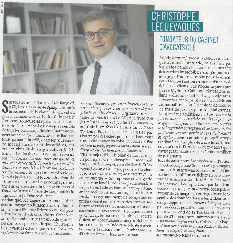"""Christophe Lèguevaques classé dans les """"40 qui font Toulouse"""""""
