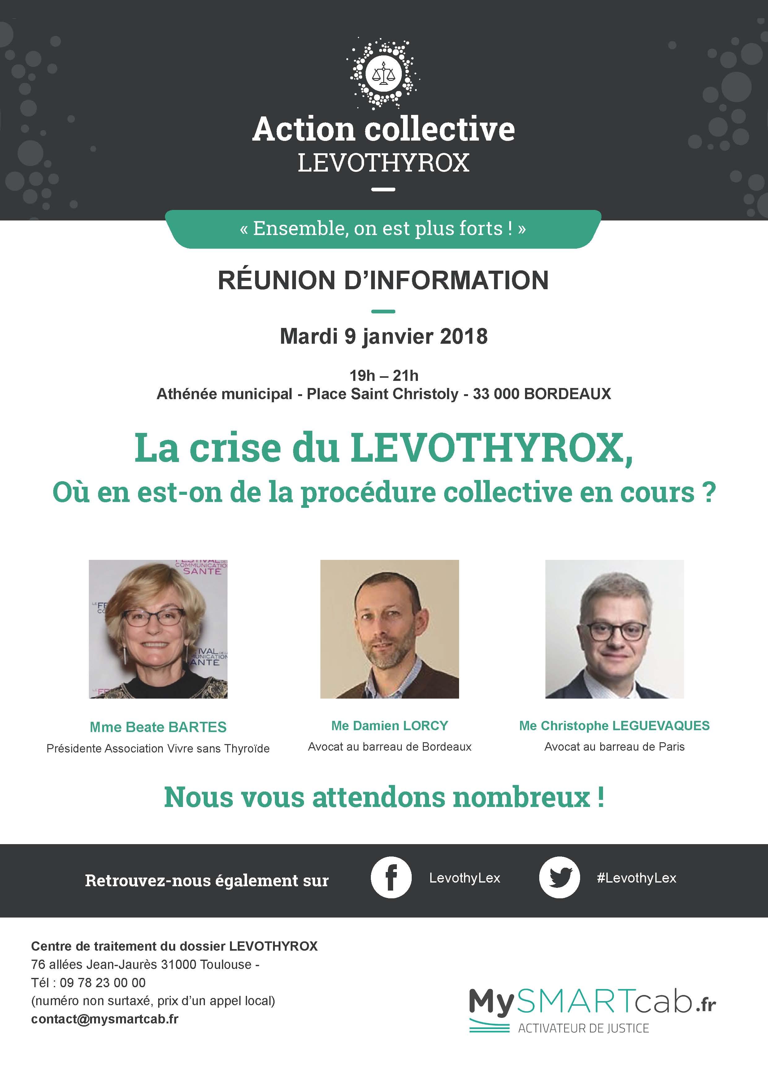 #LEVOTHYROX - Réunion d'informations à #BORDEAUX - mardi 9 janvier 2018