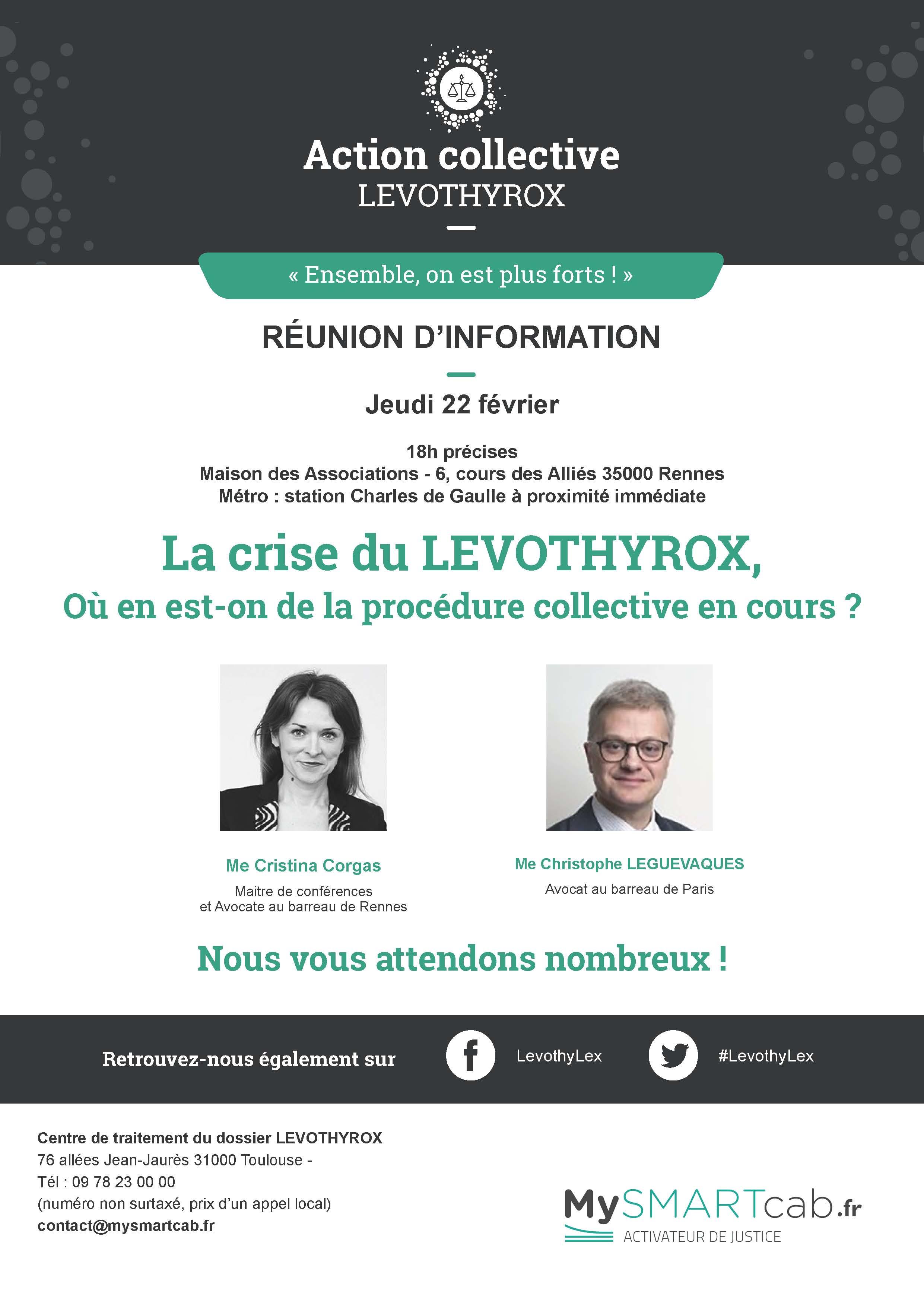 #Levothyrox : réunion d'information à RENNES le 22 février 2018