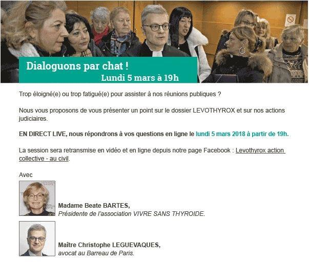 #Levothyrox : dialogue en direct via internet - lundi 5 mars 2018 à 19h00