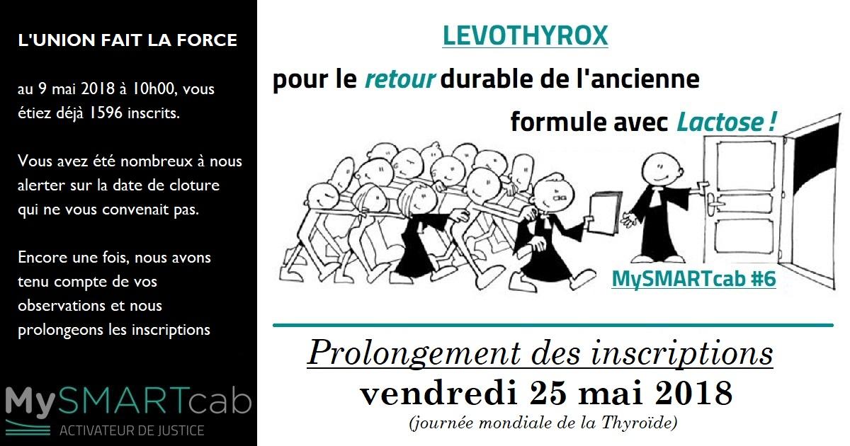 """#Levothyrox : prolongement des inscriptions pour l'action """"Retour du lévothyrox avec lactose"""""""