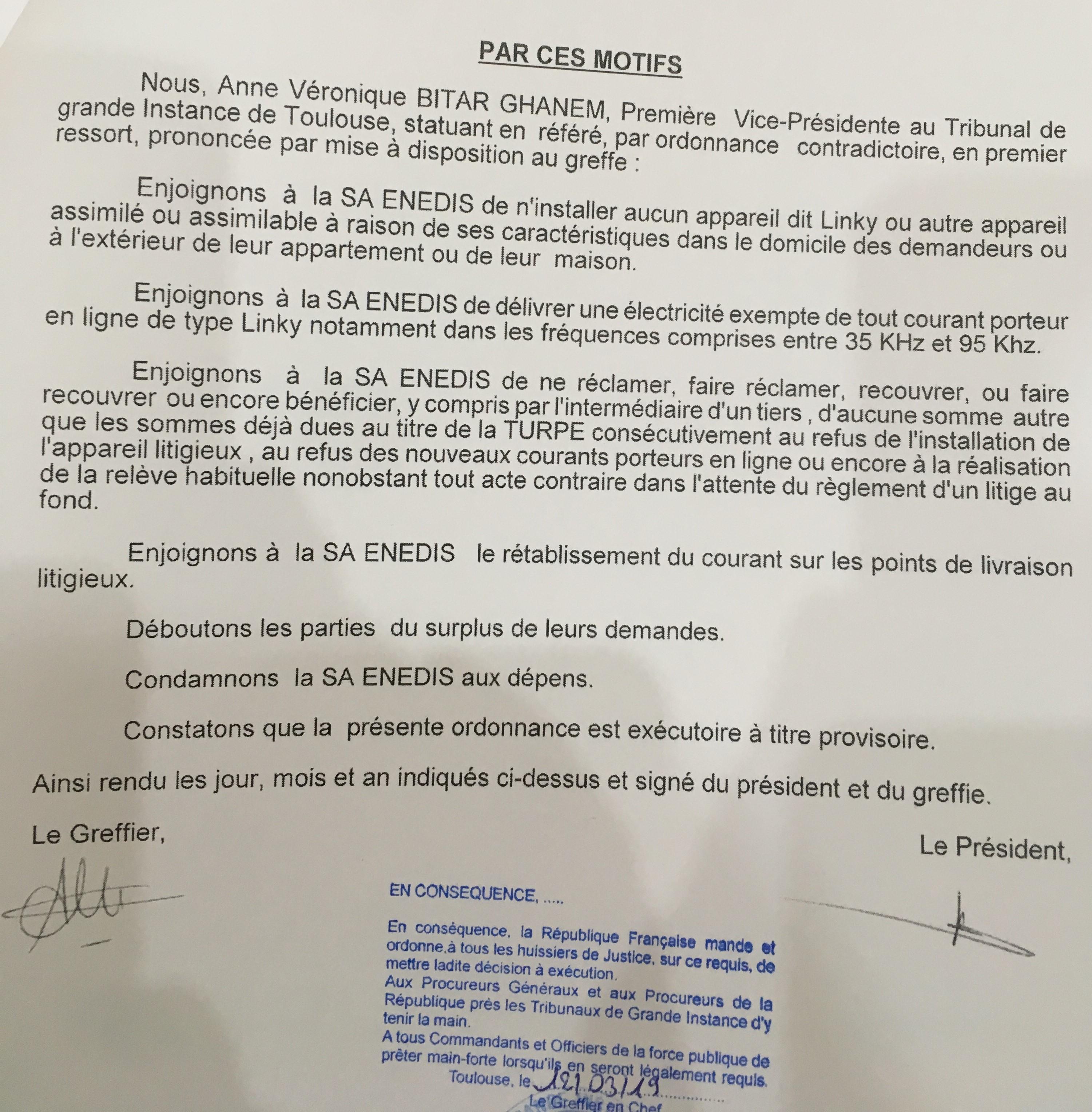 #LINKY - Un premier pas : le juge des référés du TGI de Toulouse protège les EHS/victimes des ondes