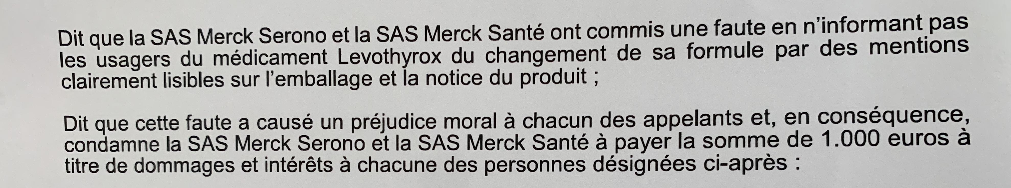 La Cour d'appel de Lyon reconnait le défaut d'information fautif de MERCK lors du changement de formule de LEVOTHYROX