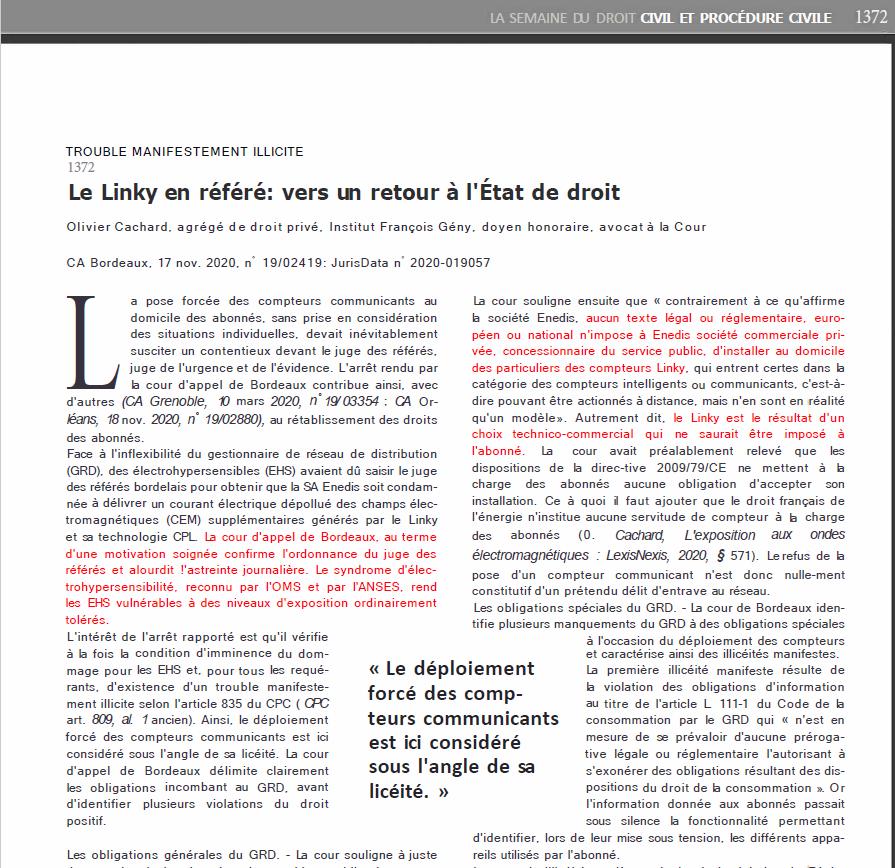 LINKY : commentaire de l'arrêt de la cour d'appel de Bordeaux par le doyen Cachard
