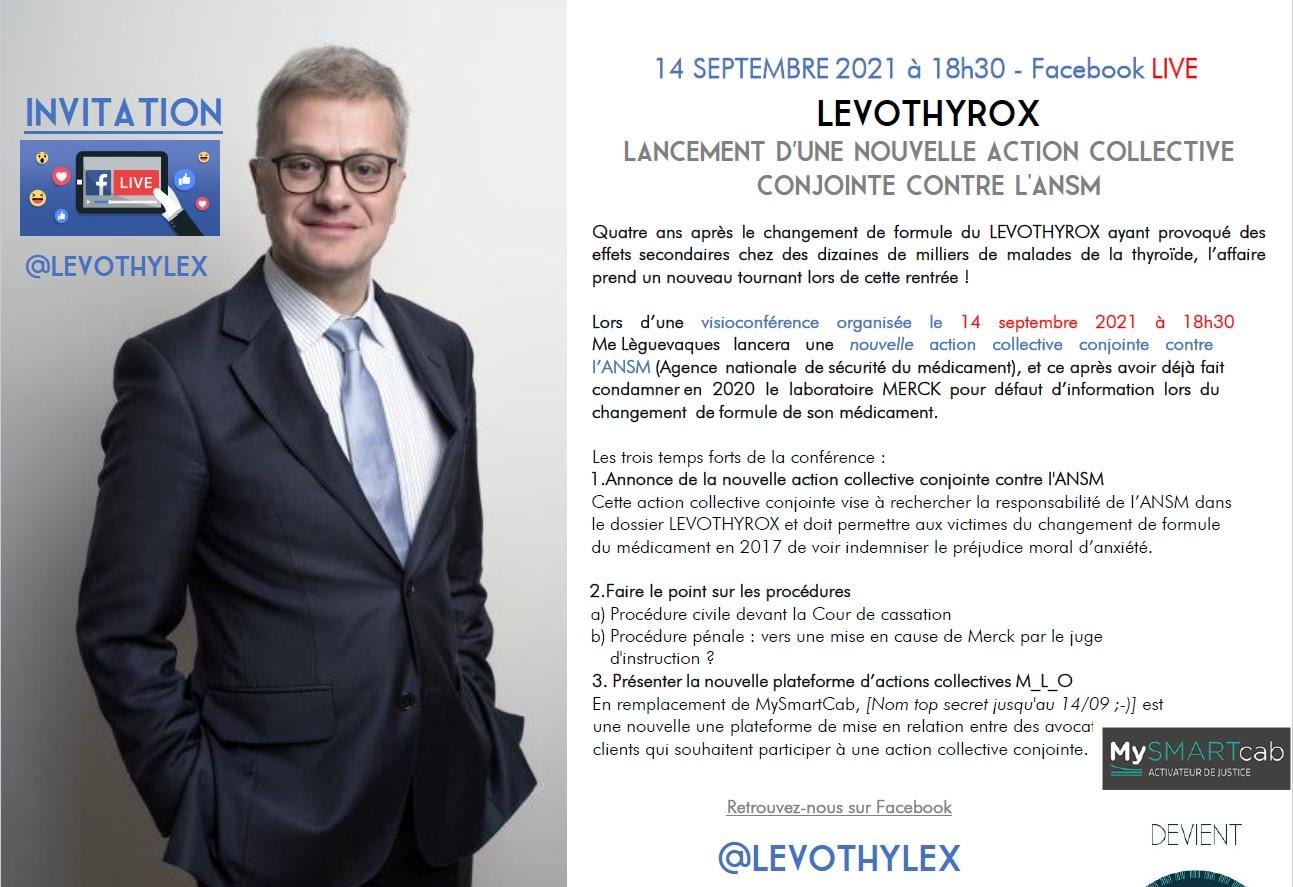 #Levothyrox : quatre ans après - rendez-vous le 14 septembre 2021 à 18h30 pour faire le point