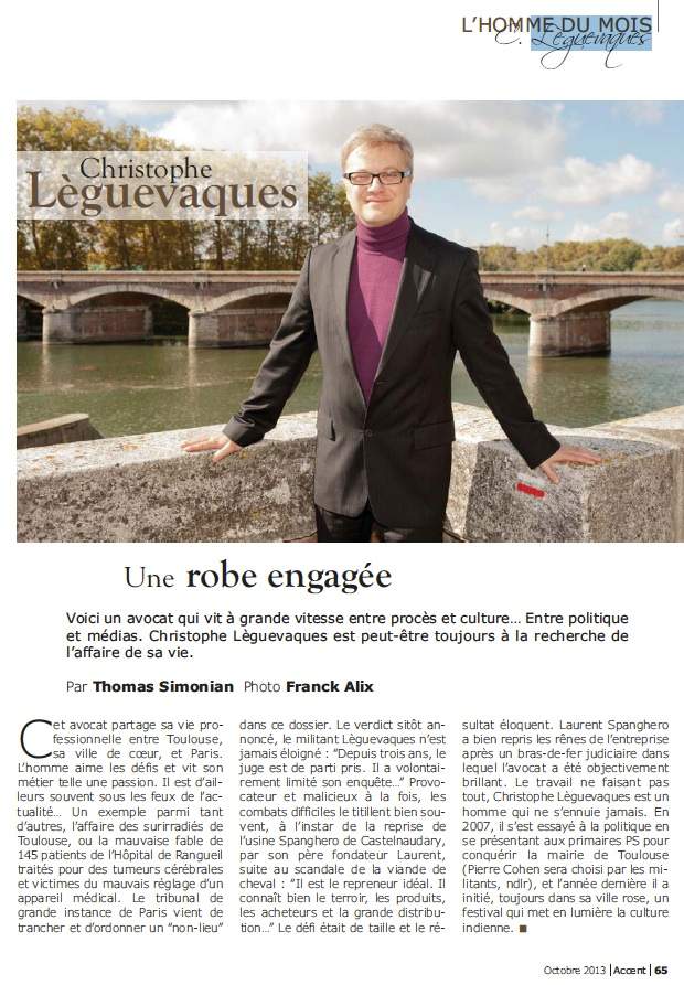 L'homme du mois : Christophe Lèguevaques, une robe engagée